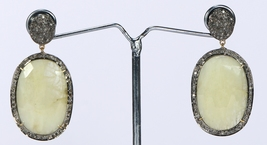 Victorian Earrings 14ktGold .925Sterling Silver with Pave Diamonds & Sap... - $369.00