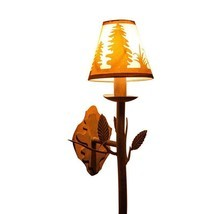 Rustic Finish Pine Tree Silhouette Wall Sconce Light Cottage Cabin Lodge - $66.59