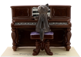 Hagen-Renaker Miniature Ceramic Figurine Keyboard Cat on Bench Playing Piano image 3