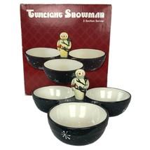 Twilight Snowman 3 Section Server Christmas Ceramic Dish Mary Beth Baxter - $26.37