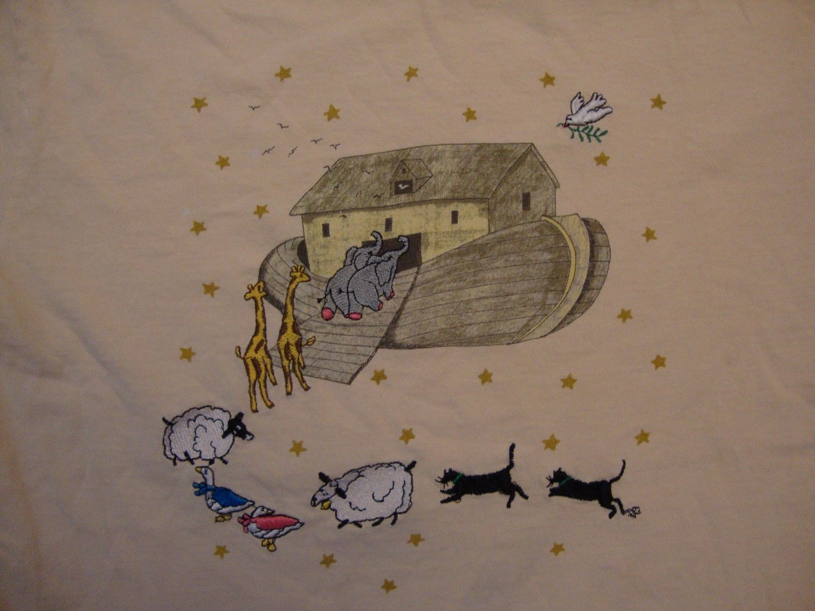 Primary image for Vintage Noah's Ark Animals Cute Beige T Shirt Size M