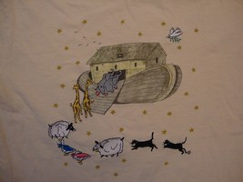 Vintage Noah's Ark Animals Cute Beige T Shirt Size M - $15.83