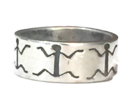 Stick Figure Sterling Silver Vintage Figurative Southwest Ring Band Size 8  - $38.00