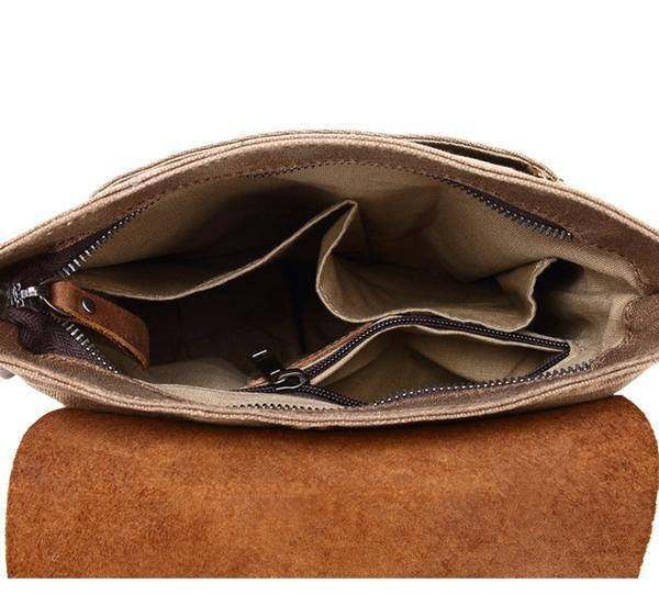 Sale, Leather with Canvas Crossbody Bag, Canvas Messenger Bag, Vintage Messenger image 5