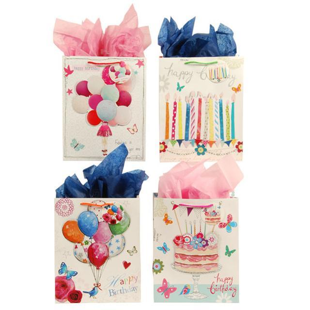 13W x 18H x 5 1/2G Extra Large Birthday Fairytales Matte Gift Bag With Pop Layer