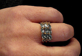 Marquise Rhinestone Cocktail Ring BLUE ICE Costume Jewelry size 6 Nickel Free - $19.75