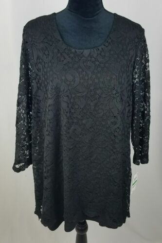 JM Collection women L blouse black floral lace long sleeve