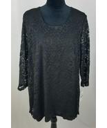 JM Collection women L blouse black floral lace long sleeve - $29.16