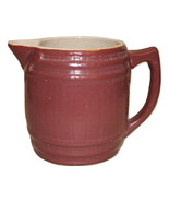 Uhl Barrel Pitcher Burgundy Maroon Pottery Huntingburg, IN w/ Stamp on b... - $25.95