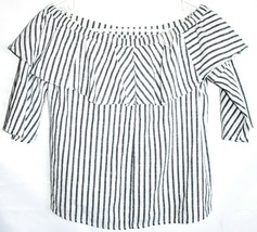 Miss Love T31687 White & Grey Pinstripe Off the Shoulder Shirt Top Size S image 2
