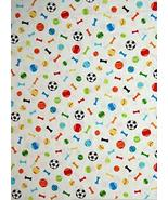 Dog Bones and Sport Ball Toss Cotton Fabric Dogs World by The Yard - $25.36