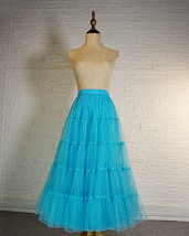 Blue Glitter Maxi Tulle Skirt Outfit Tiered Sparkle Tulle Skirt A-line Plus Size image 3