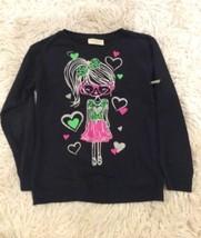 Long Sleeve Shirt New Girlie Girl Top Large 10/12 Bling Bobbie Brooks Tee Black - $7.99
