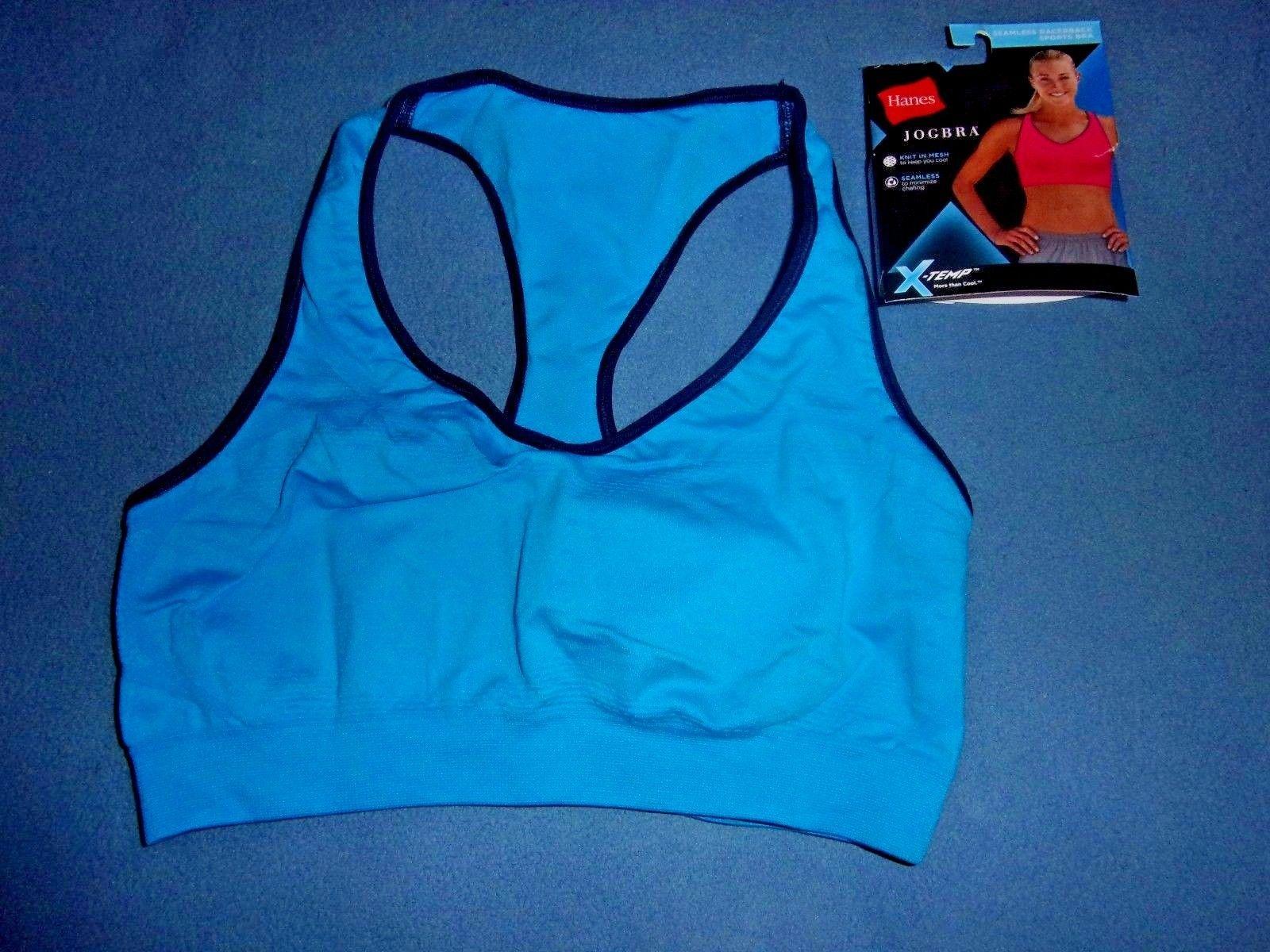 71e12208d8d59 Size L NIP Hanes Blue X-Temp Jog Bra Seamless Racerback Sports Bra B0820 -   4.46