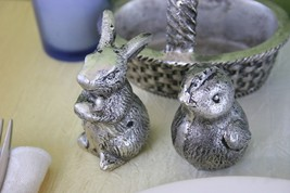 POTTERY BARN EASTER BUNNY AND CHICK SALT & PEPPER SHAKERS – A BASKETFUL ... - $35.95