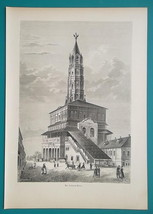 RUSSIA Moscow Sukharev Tower - 1880s Wood Engraving Print - $30.60
