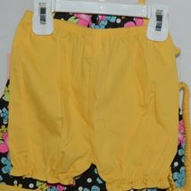 Mon Petit Yellow Black Flowered Babydoll Top Bloomers Elastic Headband 24 Month image 3