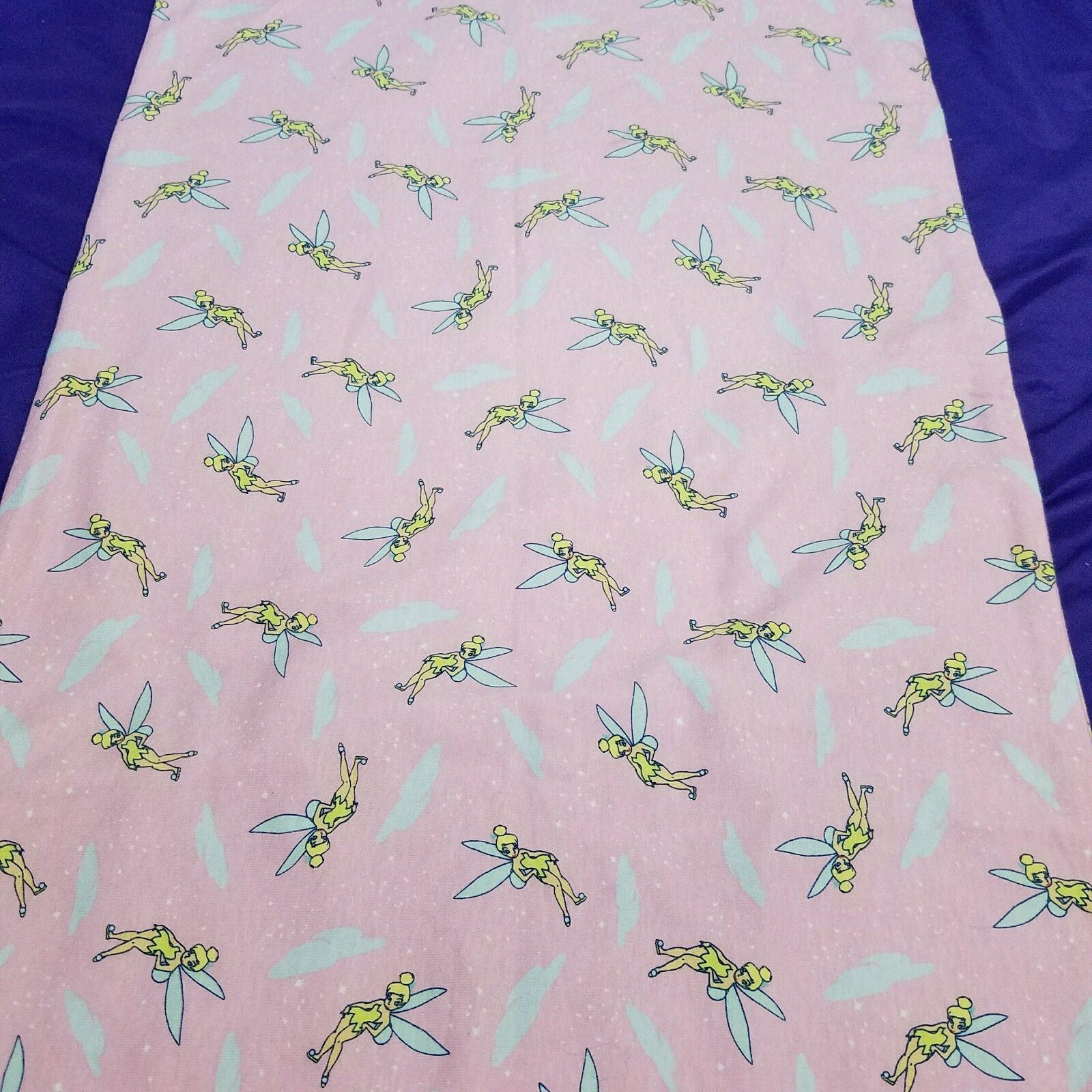 VTG Tinkerbell Pink Pillow Case Little Tinkerbell Flying In Clouds 29 x 18