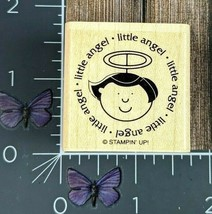 Stampin' Up! Little Angel Halo Rubber Stamp Circle Wood Mount #Z100 - $2.72