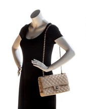 SALE* AUTHENTIC Chanel Quilted Lambskin Classic Medium Beige Double Flap Bag SHW image 14