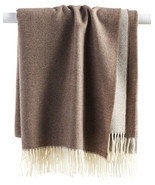 Sferra Soft Merino Lambswool Throw Jonni Mocha Brown Twisted Fringe 50x7... - $208.90