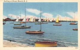 NJ, New Jersey  SAILING At BRANT BEACH  Sailboats~Long Beach  c1940's Po... - $8.81