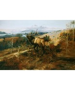 The Elk Charles Russell Wildlife Animal Mountain Landscape 36x24 Canvas ... - $286.11