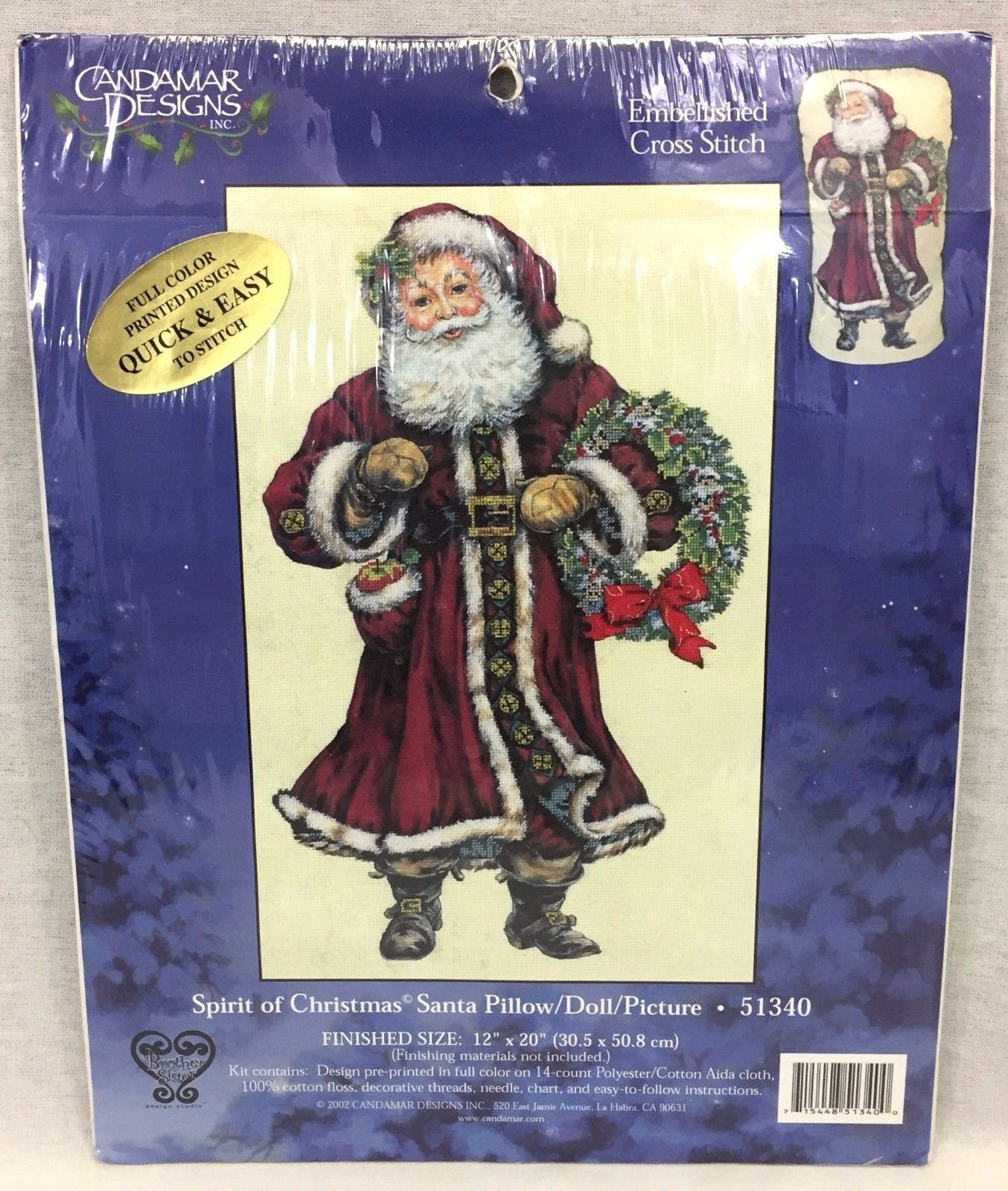 Primary image for Candamar Designs Spirit Of Christmas Santa Pillow Picture Cross Stitch Kit 51340