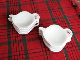 Set of Four (4) Teapot Shaped Tea Bag Holders - White Melamine Plastic  - £7.78 GBP