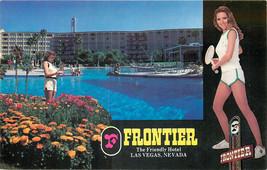 Chrome Postcard B365 Frontier Hotel Casino Tennis Girl Multiview Las Veg... - $7.00