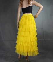 YELLOW Tiered Tulle Skirt Women High Waisted Layered Yellow Wedding Party Skirt  image 3