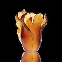 Daum  Large amber Tulipe vase Crystal  03574 France NEW - $4,752.00