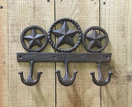 Cast Iron Triple Star Coat Hook Wall Mount Western Decor - $12.86