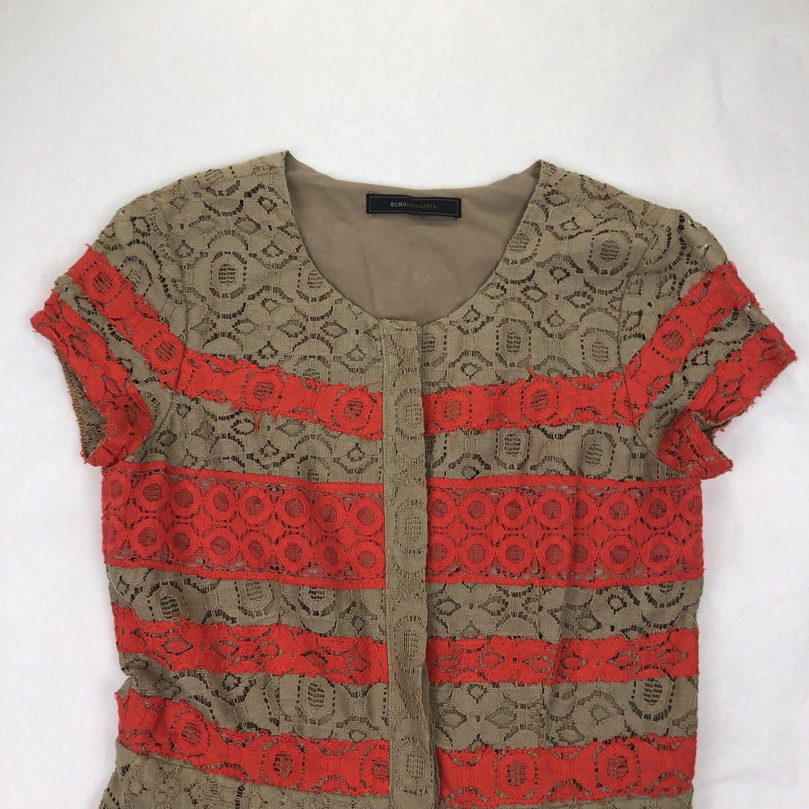 BCBG Maxazria Women's Small Brown Red Stripes Button Down A Line Dress