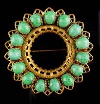 Vintage Miriam Haskell Brooch - green peking glass - starburst filigree ... - $135.00