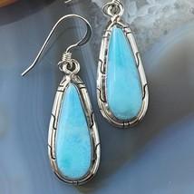 Sterling Silver Teardrop Larimar Dangle Earrings - $97.00