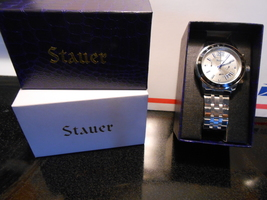 Man's Stauer Metro Chronograph Stainless Wristwatch-New+Free Shipping - $56.95