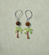 Summer Palm Tree and Tiger Eye Gemstone Dangle Earrings with European Le... - $13.99