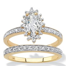 1.67 TCW Created White Sapphire and Diamond 18k Gold over Silver Ring Set - $169.99