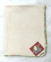 Cocalo Baby Blanket Elephant Cream w Multicolored Trim Fleece Soft Boy Girl B67 - $14.99