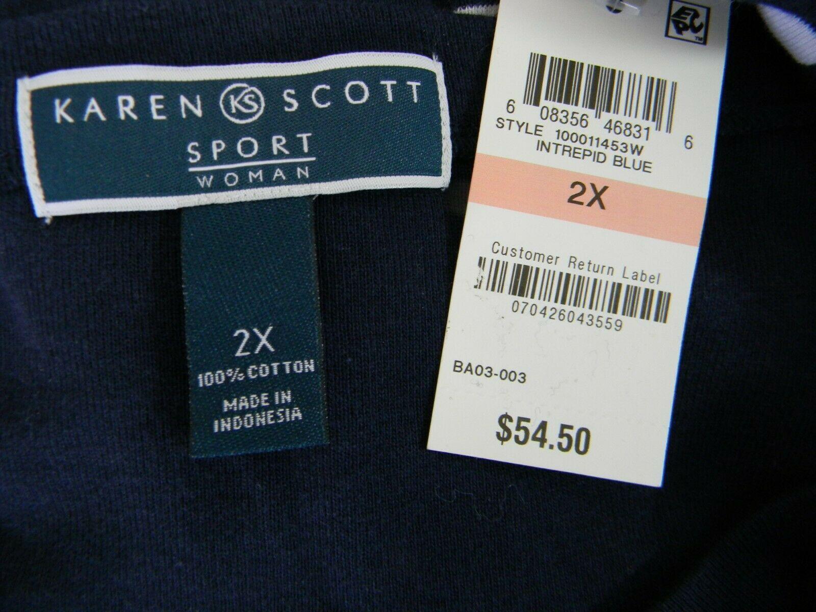 Karen Scott Plus Size 2X,3X Dress Floral Embroidered Striped Shift Dress NEW $54 image 10