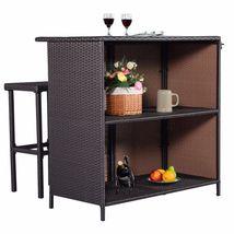 3-Pc Outdoor Rattan Wicker Bar Set Patio Furniture Backyard Table & 2 Stools NEW image 3