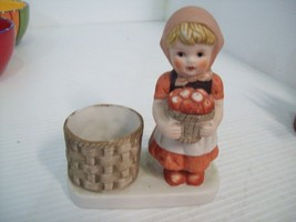 Vintage 1980 Porcelain Girl with Basket. Candleholder or Toothpicks. - $9.89