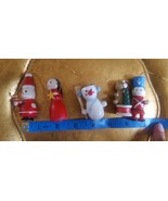 5 Vintage Wooden Mini Christmas xmas Tree Ornaments *all have minor defe... - $12.73
