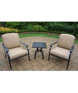 3-Piece Jet Black Square Outdoor Aluminum Patio Chat Set with Cream Cush... - $2,491.33