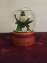 Vintage LL Bean Snow Globe Chickadee on a Pine Bough Wood Base Snowbird - $28.04