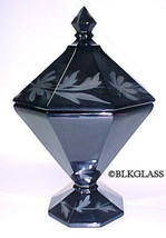 Westmoreland Candy Jar Black Glass Octagon Footed Lidded  Bowl Silver Decor - $32.99