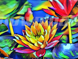 Digital download plant flower lotus meditation  Wallpaper Painting Water... - $5.00