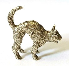 CAT WITH ARCHED BACK FINE PEWTER FIGURINE - Approx. 1 inch tall (T178) image 2