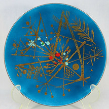 "Vintage SNOWFLAKE WINTER Holiday Christmas Blue Glass Serving Plates 8"" Dia - $30.00"